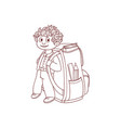 little schoolboy with big backpack and school vector image vector image