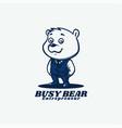 logo busy bear mascot cartoon style vector image vector image