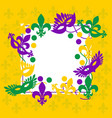 mardi gras elegant yellow frame place for text vector image