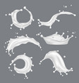 milk splashes white drop liquid fresh food from vector image vector image