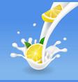 milk yogurt lemon splash vector image vector image