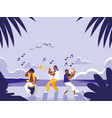 music band in tropical beach vector image vector image