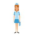 nurse female staff with uniform hat medical vector image