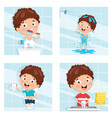of kid bathing brushing teeth vector image