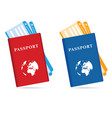passeport and ticket in two color vector image vector image