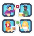 people chatting online together flat poster men vector image vector image
