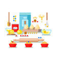 preparation of baking ingredients vector image vector image