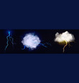 realistic clouds with lightning bolts vector image vector image