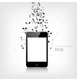 Realistic detalized smartphone with music notes vector image