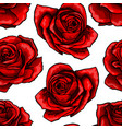 red rose flower bouquets contour elements seamless vector image