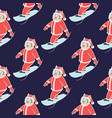 seamless pattern snowboarder2 vector image vector image