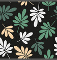 seamless stylized green and beige leaves pattern vector image vector image