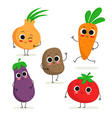 Set of 5 cute cartoon vegetable characters vector image