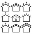 set of roofing icons on white background vector image