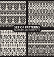 set seamless knitted patterns graphics vector image