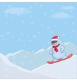 snowman snowboarding vector image vector image