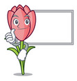 thumbs up with board crocus flower character vector image vector image