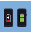 two smartphones with energy level icons vector image