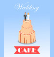 wedding sweet cake decorated with couple figurine vector image
