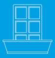 window and flowerbox icon outline style vector image vector image