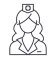 woman doctor nurse line icon sign vector image vector image