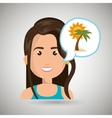 woman tourist travel beach vacation vector image