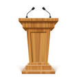 wooden realistic podium or pedestal with vector image
