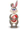 Cartoon rabbit with red egg vector image