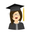 Happy student girl female vector image