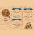 italian pizza restaurant menu template with vector image
