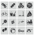 black toys icons set vector image