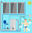 Solar Water Heater system and man in the bathroom vector image