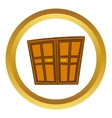 Wooden double doors icon cartoon style vector image