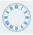 ancient clock face with roman numerals on lined vector image vector image