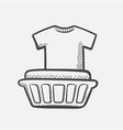 basket with laundry hand drawn sketch icon vector image