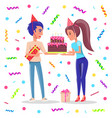 birthday party celebration confetti and people vector image vector image