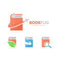 Book and airplane logo combination