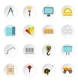 Building equipment icons set flat style vector image vector image