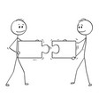 cartoon two businessmen holding and connecting vector image