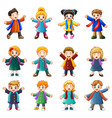 children wearing winter clothes vector image