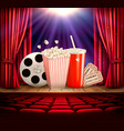 cinema background with a film reel popcorn drink vector image vector image