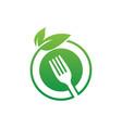 circle leaf fork eco logo image vector image vector image