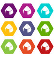 conic tent icons set 9 vector image