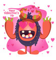cute happy monster happy valentines card vector image
