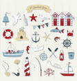cute nautical set vector image
