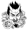 devil head mascot with rose vector image