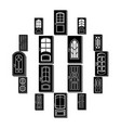 door icons set simple style vector image vector image