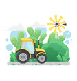 farm tractor driving on countryside road in rural vector image