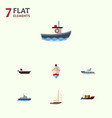 flat icon vessel set of yacht sailboat ship and vector image