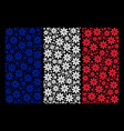 france flag mosaic of abstract flower icons vector image